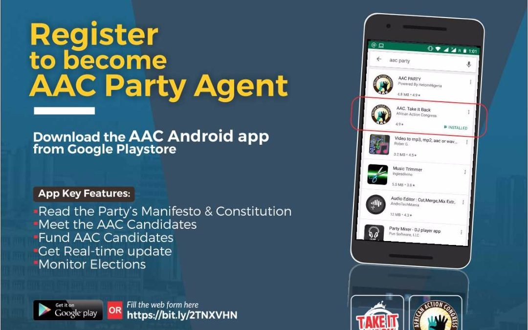REGISTER AS AN AAC PARTY AGENT – 10 DAYS to GO!